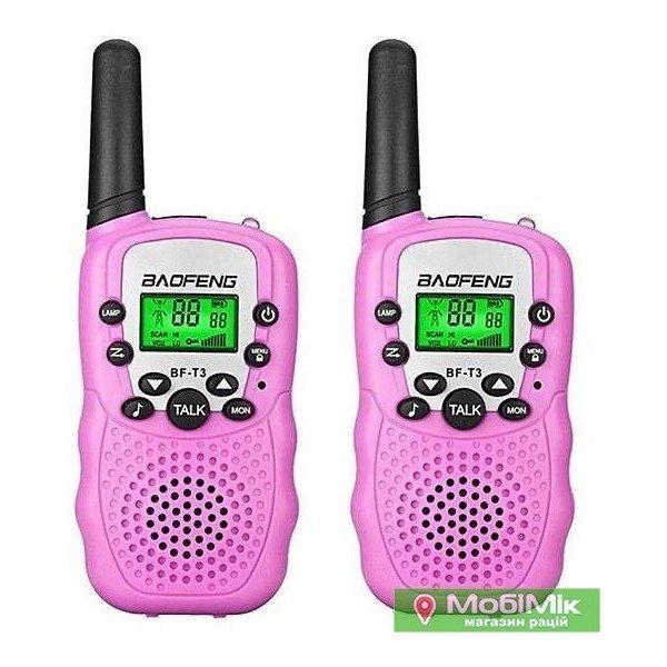 Купить Комплект. 2 рации Baofeng BF T3 розовый цвет