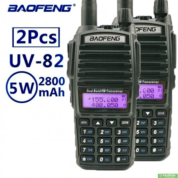 Комплект 2 рації BAOFENG UV-82 5 ватт Dualband діапазони VHF/UHF