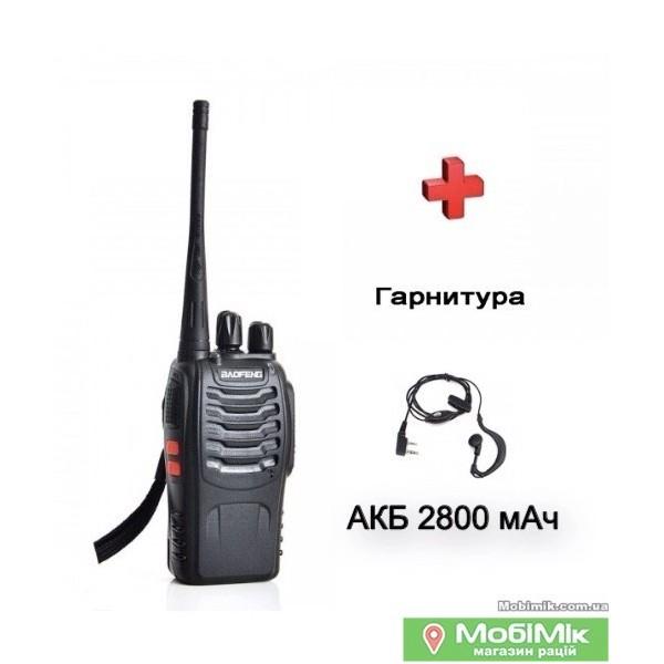Рація Baofeng BF-888s+ з посиленним акумулятором з гарнітурою UHF Частота: 400 - 520 МГц